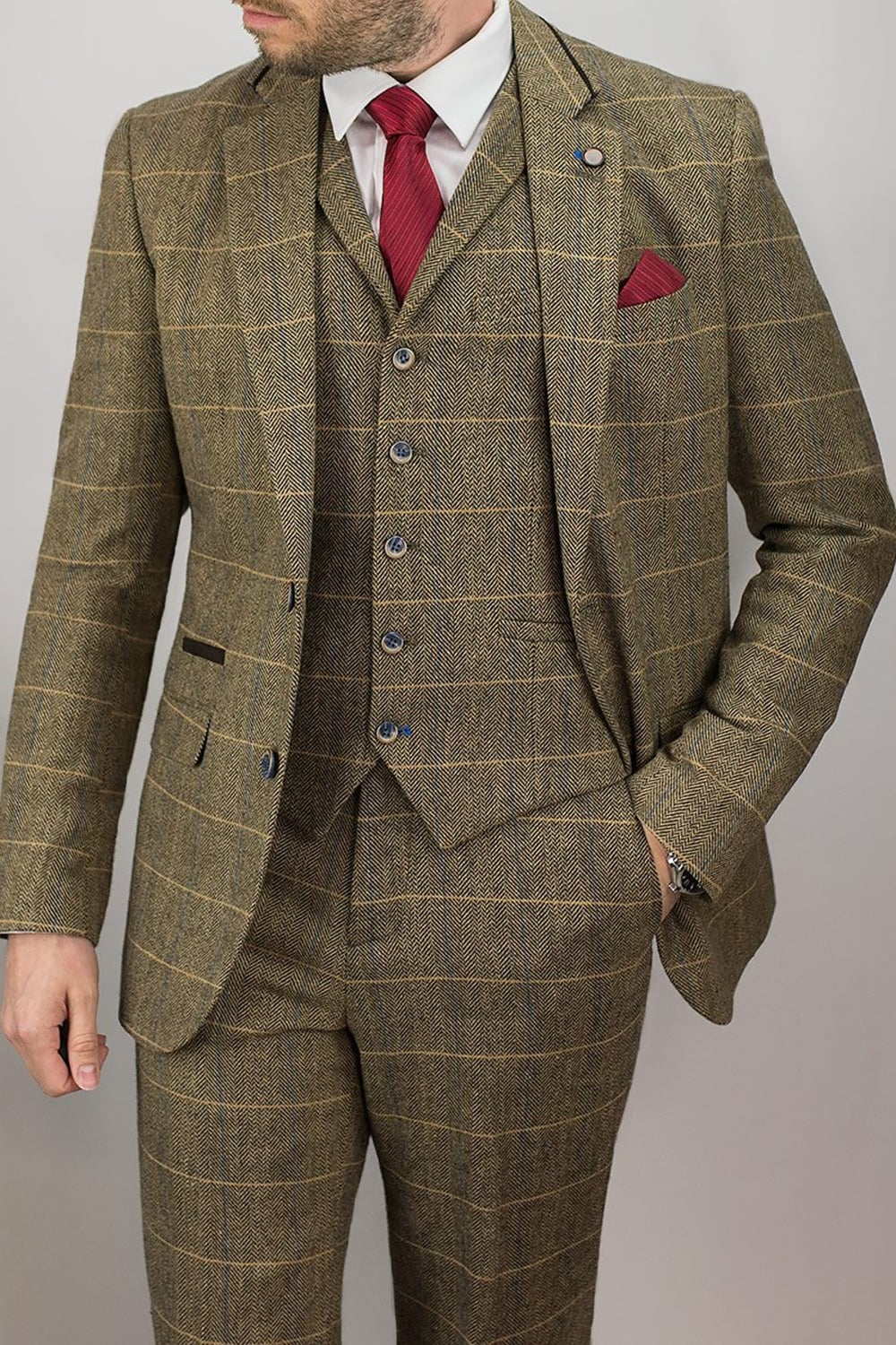 Cavani Albert 3 Piece Tweed Suit Brown