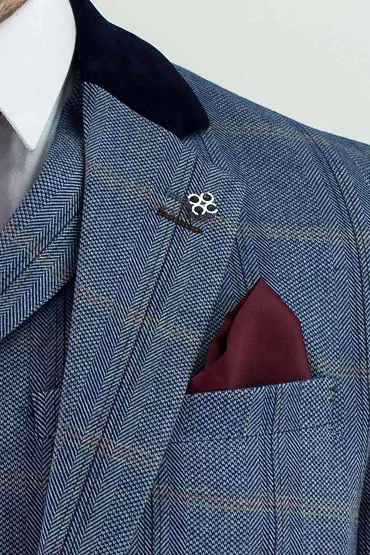Homme CAVANI Connall 3 Pièce Marron Carreaux patraque oeillères Slim Tweed Suit