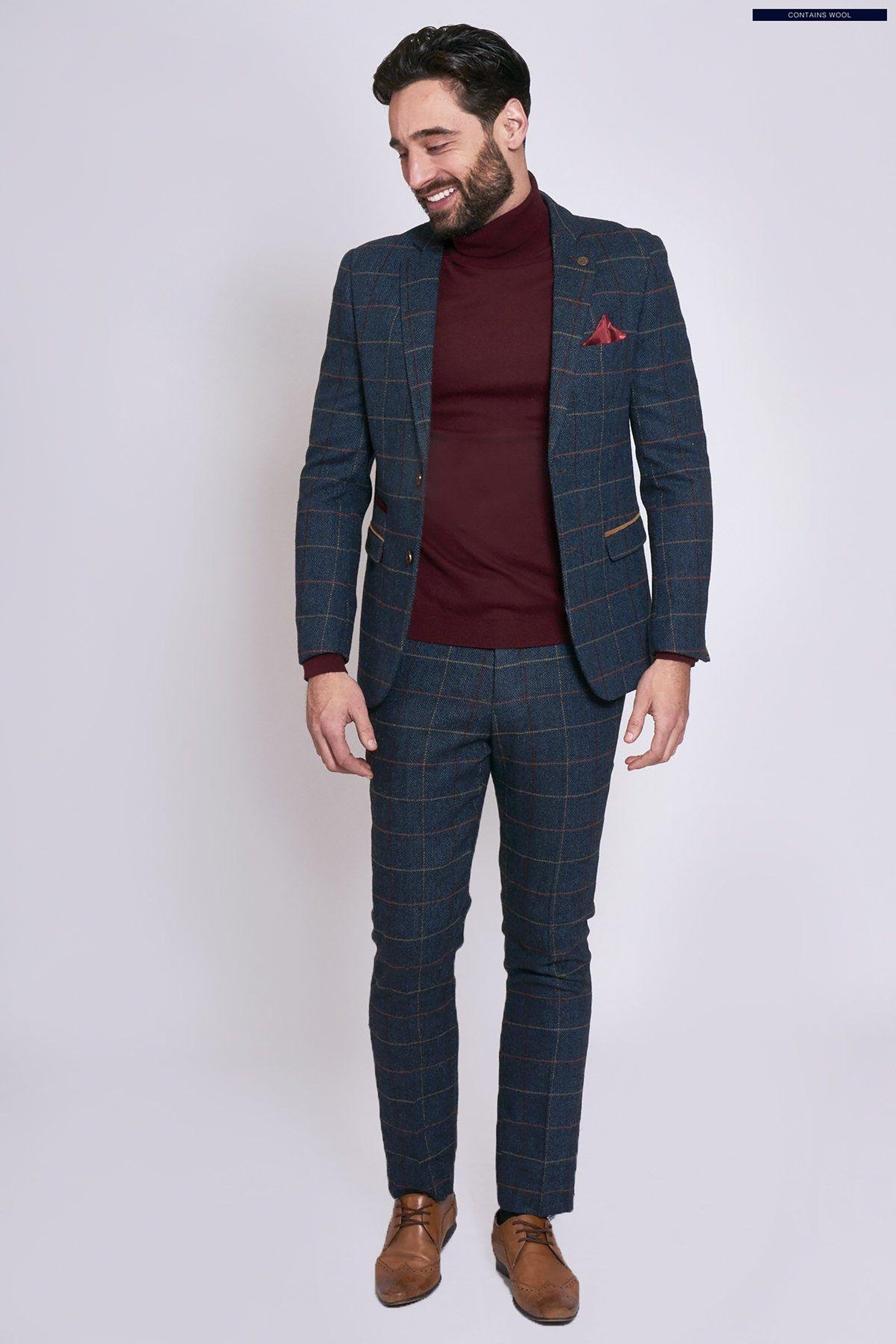 Eton Navy Blue Tweed Check Two Piece Suit Marc Darcy Fallen Hero