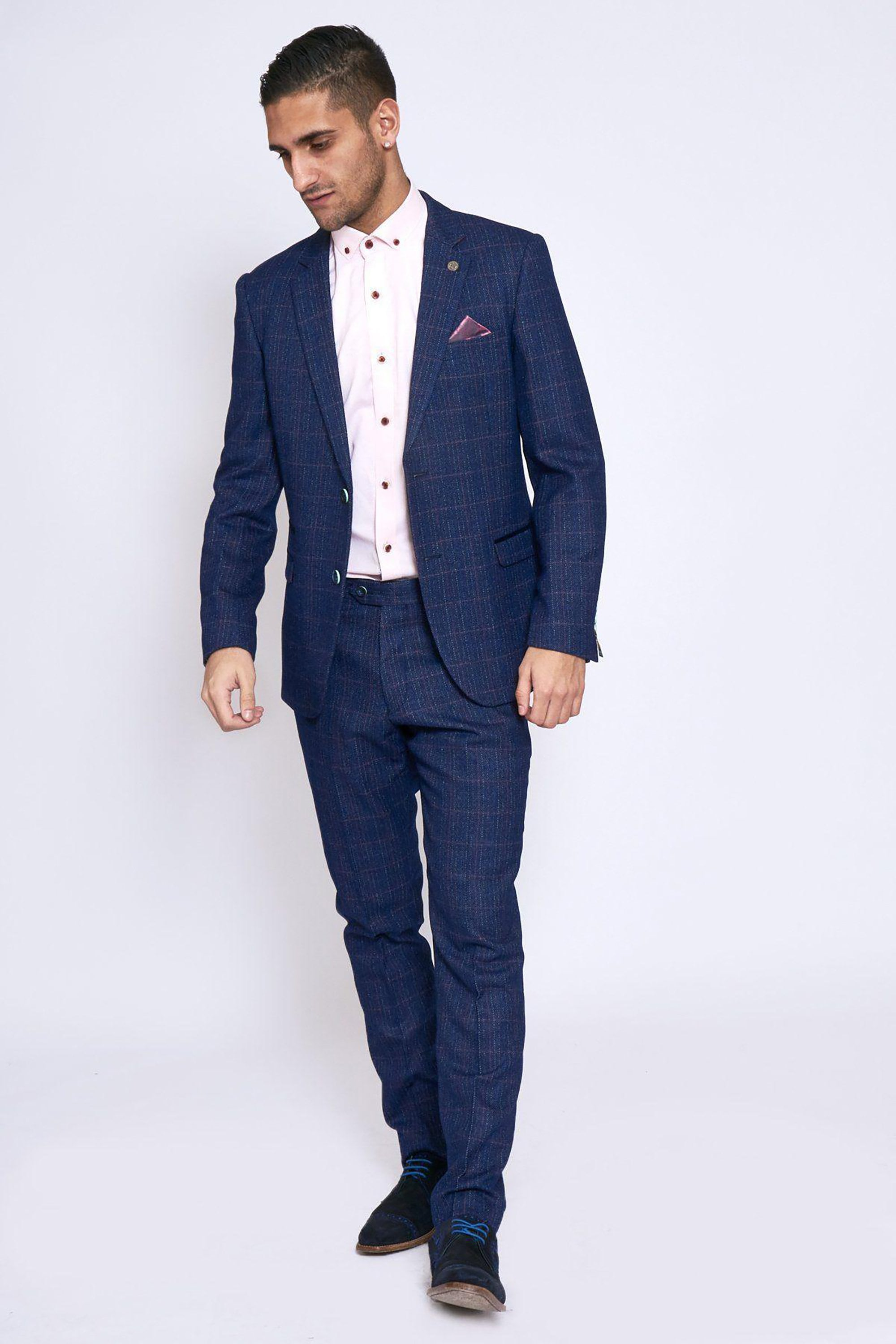 Harry Indigo Tweed Check Two Piece Suit Suits From Fallen Hero Uk
